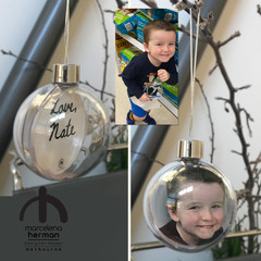 LIMITED OFFER - Direct Photo Crop and print onto baubles + Custom Greeting