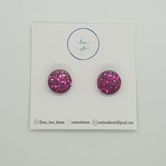 CLIP ON - Small Studs - Dark Pink