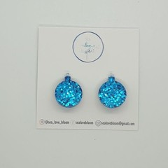 CLIP ON - Christmas Bauble Studs - Bright Blue
