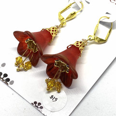Ruby Red Flower Earrings