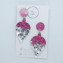 Christmas Dangles - Pointy Baubles: Dark Pink + Silver Stars