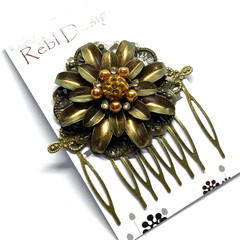 Hand Painted Floral Hair Comb - Gold