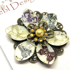Hand coloured Butterfly patterned brooch