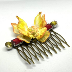 Hand Painted Butterfly Hair Comb - Yellows, Oranges and red