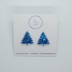 Christmas Tree Studs - Bright Blue