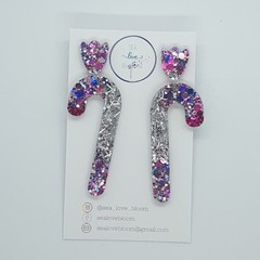 Christmas Dangles - Candy Canes: Clueless + Silver Tinsel with Tulip Studs