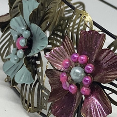 Hand painted Flower Headband in Soft blue and pink