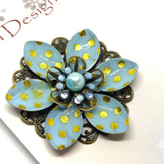 Hand coloured Blue & Gold Polka dot patterned brooch
