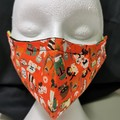 Handmade face mask has triple cotton with a filter pocket, nose wire, elastic. L