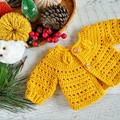 Mustard Hand Crocheted Baby Cardigan  0-3 months