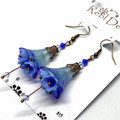 Shades of blue Flower Earrings