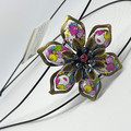 Hand coloured Flower Headband in Blue pink white and yellow