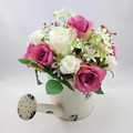 Artificial Pink & White Rose Flower Arrangement in Cream Watering Can