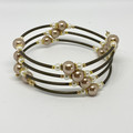 Dusty Rose, White, Gold and Bronze Memory Wire Bracelet