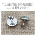 Glass dome stud earrings  Black glitter