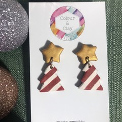 Christmas Tree Dangles (Red, White and Gold)