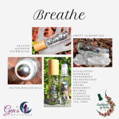 Breathe Essential oils Blend with Gemstone Roller ball bottle