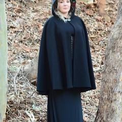 Short Black Wool Blend Cloak