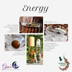 Energy Essential oils Blend with Gemstone Roller ball bottle