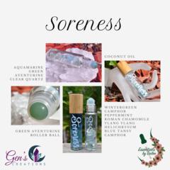 Soreness Essential oils Blend with Gemstone Roller ball bottle