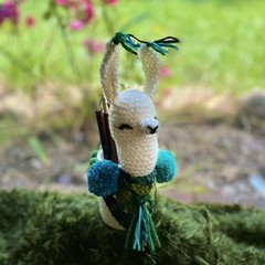 Crochet Llama Pencil Holder Jar Cosy Handmade Desk Organizer