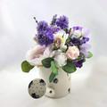 Purple Silk Peonies Roses Flower Arrangement in Watering Can - Christmas Gift