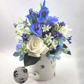Artificial Blue & White Flower Arrangement in Cream Watering Can