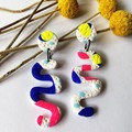 Neon Party Squiggle Dangles