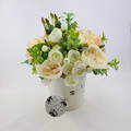 Artificial Green & Peach Flower Arrangement in Watering Can - Christmas Gift