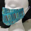 Triple layer cotton facemask.  Pencils pattern.