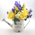 Artificial Blue & Yellow Flower Arrangement in Watering Can - Christmas Gift