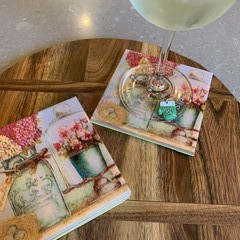 Floral coasters, set of four