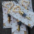 Wedding Heart Shaped Wine/Champagne Bottle Stoppers. Love Heart Gold Wedding
