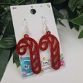 Candy Cane Red Glitter Christmas Button - Glitter Dangle earrings