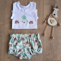 Wombats in Santa hats Aussie Christmas applique singlet and nappy cover