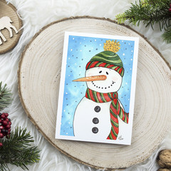 Frosty Snowman Watercolour Artist Greeting Card, Blank or Message, A6 size