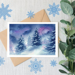 White Christmas Watercolour Artist Greeting Card, Blank or Message, A6 size