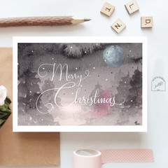 Christmas Moon Watercolour Artist Greeting Card, Blank or Message, A6 size