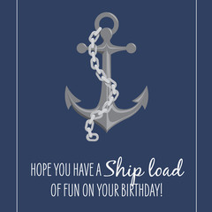 Birthday Card - Anchor and Chain Nautical