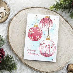 Pretty Pink Baubles Watercolour Artist Christmas Greeting Card, Blank or Message