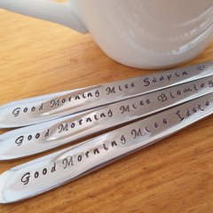 Custom Spoon Set 3 x Teacher Gift Set, Anniversary,Birthday, Hand Stamped