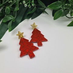 Red Christmas Tree - Button - Glitter Stud Dangle earrings
