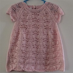Delicate Lace Knit Baby Dress Size: 3-6mth