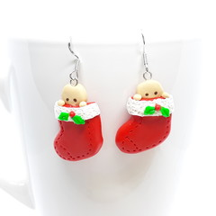 Christmas Sock earrings with gingerbread hiding inside, sterling silver hooks
