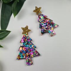 Rainbow Pop Christmas Tree - Button - Glitter Stud Dangle earrings