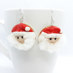 Miniature Santa Claus dangle earrings with sterling silver hooks