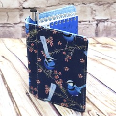 Blue wren  Fabric Pocket Notepad Cover