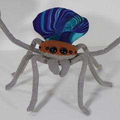 Australian Peacock Spider Fabric Wire Soft Sculpture Species Maratus Gemmifer