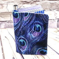 Purple peacock feather Fabric Pocket Notepad Cover