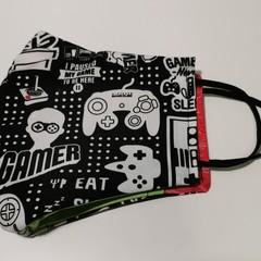 Triple layer cotton facemask.  'Gamer' pattern.